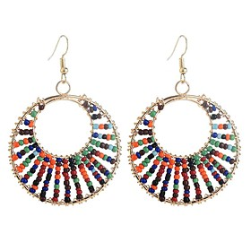 Women's Long Drop Earrings Earrings Ladies Vintage Ethnic Fashion Jewelry Rainbow For Party / Evening Going out 1 Pair