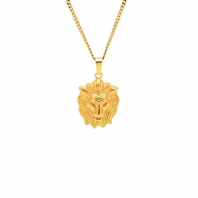 Men's Stylish Cuban Link Engraved Pendant Necklace Chain Necklace Steel Stainless Lion Stylish European Hip-Hop Cool Gold 60 cm Necklace Jewelry 1pc For Masque