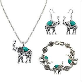 Women's Vintage Style Jewelry Set Resin Elephant Ladies, Unique Design, Vintage Include Charm Bracelet Drop Earrings Pendant Necklace Black / Red / Blue For Ev