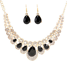 Women's Crystal Retro Jewelry Set Pear Luxury, Vintage, Elegant Include Drop Earrings Bib necklace Rainbow / Red / Champagne For Wedding Party Ceremony
