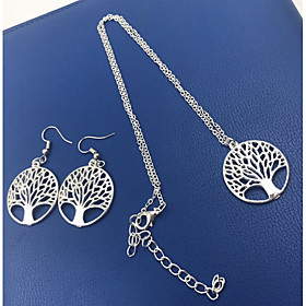 Women's Lasso Jewelry Set Tree of Life Ladies, Simple, Fashion Include Necklace Silver For Daily Festival / Earrings
