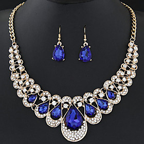 Women's Sapphire Crystal Hollow Jewelry Set Rhinestone Drop Ladies, Luxury, Sweet, Fashion Include Drop Earrings Statement Necklace Red / Blue / Champagne For