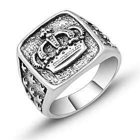 Men's Sculpture Ring Signet Ring Crown Vintage European Trendy Ring Jewelry Silver For Daily Festival 7 / 8 / 9 / 10