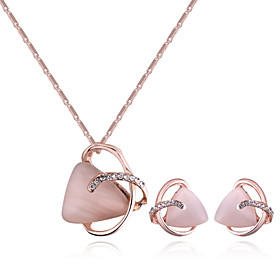 Women's Crossover Jewelry Set - Rhinestone European, Sweet, Fashion Include Necklace Earrings Gold For Daily Evening Party