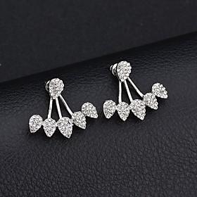 Women's Cubic Zirconia Stud Earrings Front Back Earrings / Ear Jacket - Teardrop Fashion, Euramerican Gold / Silver For Party Daily / 2pcs