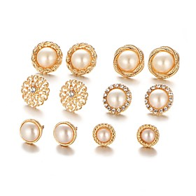 Women's 3D Stud Earrings - Imitation Pearl Flower Casual Lolita, Trendy Gold For Gift Daily / 6 Pairs