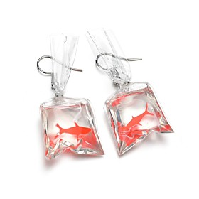 Women's Sculpture Drop Earrings Resin Earrings Fish Ladies Cartoon Trendy Jewelry Silver For Party / Evening Holiday 1 Pair