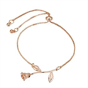Women's Long Chain Bracelet - Flower Vintage, Ethnic, Fashion Bracelet Silver / Rose Gold / Champagne For Party Ceremony