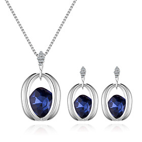 Women's Stylish Jewelry Set - Rhinestone European, Fashion, Elegant Include Necklace Earrings Purple / Red / Blue For Daily Evening Party