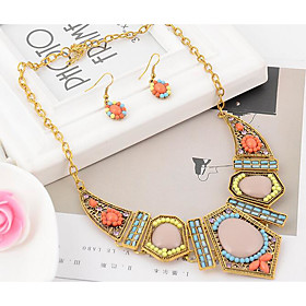 Women's Bib Jewelry Set - Resin, Rhinestone Bohemian, Africa, Colorful Include Statement Necklace Dangle Earrings Rainbow For Party Vacation