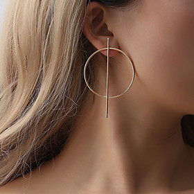Women's Hollow Out Stud Earrings - Drop Simple, Geometric, Unique Design Gold / Black / Silver For Party / Evening Carnival Street / Oversized