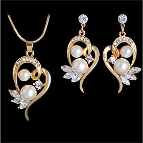 Women's Freshwater Pearl Hollow Out Jewelry Set Heart Ladies, Romantic, Casual / Sporty, Fashion Include Pendant Necklace Earrings Gold / Silver For Wedding Gi