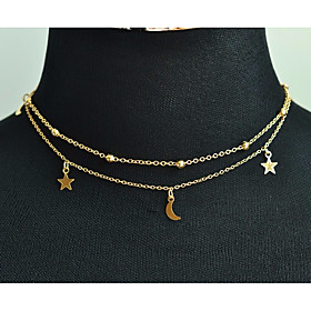 Women's Stylish Trace Layered Necklace Charm Necklace Moon Star Crescent Moon Ladies Stylish Sweet Elegant Gold Silver 85 cm Necklace Jewelry 1pc For Wedding M