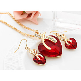 Women's Crystal Synthetic Diamond Jewelry Set - Crystal Heart, Love European, Elegant, Bridal Include Drop Earrings Pendant Necklace Red / Green / Blue For Wed