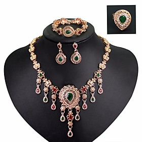 Women's AAA Cubic Zirconia Vintage Style Hollow Out Jewelry Set - Flower Statement, Vintage, Elegant Include Drop Earrings Statement Ring Vintage Necklace Gold