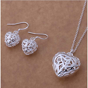 Women's Hollow Out Trace Jewelry Set - S925 Sterling Silver Heart Stylish, Sweet, Elegant Include Drop Earrings Pendant Necklace Silver For Birthday Festival