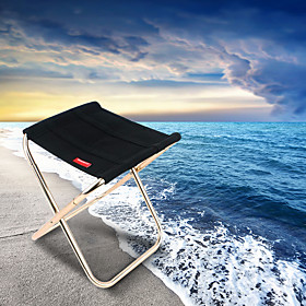 Camping Folding Chair Outdoor Portable Lightweight Mini Oxford Cloth Oxford cloth Aluminium Alloy for 1 person Fishing Camping Travel - Black