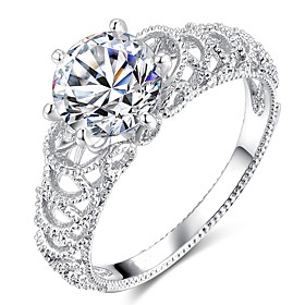 Women's Hollow Out Solitaire Simulated Ring Copper Platinum Plated Imitation Diamond Clouds Ladies Stylish Trendy Ring Jewelry Silver For Wedding Party Masquer