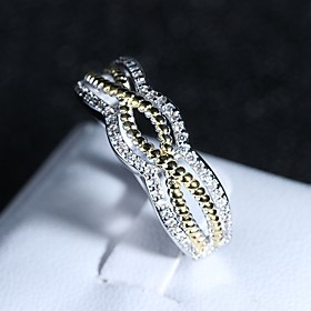Women's Stylish Plaited Wrap Ring Copper Platinum Plated Imitation Diamond Infinity Ladies Romantic Fashion Ring Jewelry Rainbow For Wedding Gift Formal Masque