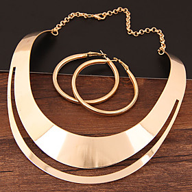 Women's Hollow Jewelry Set - Statement, Simple, European Include Hoop Earrings Necklace Gold / Silver For Evening Party