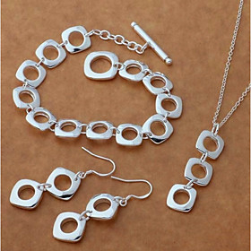 Women's Stylish Trace Jewelry Set S925 Sterling Silver Creative Ladies, Stylish, Simple, Elegant Include Drop Earrings Pendant Necklace Silver Bracelets Silver