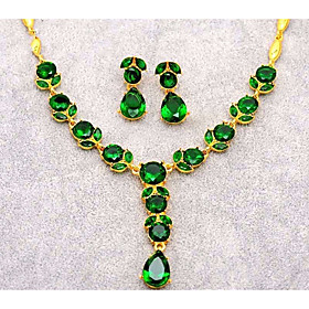 Women's Stylish Link / Chain Jewelry Set - Resin Leaf, Pear Stylish, Classic, Elegant Include Drop Earrings Pendant Necklace Purple / Green / Blue For Evening