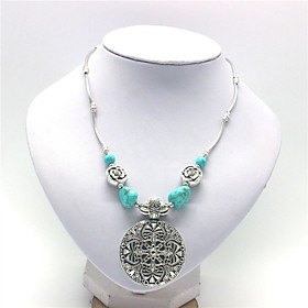 Women's Turquoise Hollow Out Pendant Necklace Creative Ladies Stylish Classic Silver 365 cm Necklace Jewelry 1pc For Daily