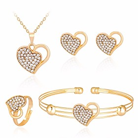 Women's AAA Cubic Zirconia Hollow Out Mismatched Jewelry Set - Heart Simple, Casual / Sporty, Sweet Include Bracelet Bangles Necklace Earrings Gold For Daily D