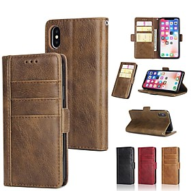 Case For Apple iPhone X / iPhone 8 Plus / iPhone XS Wallet / Card Holder / with Stand Full Body Cases Solid Colored Hard Genuine Leather for iPhone XS / iPhone