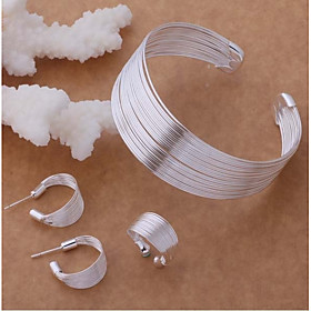 Women's Layered Stylish Jewelry Set S925 Sterling Silver Creative Ladies, Stylish, Unique Design, Elegant Include Cuff Bracelet Hoop Earrings Open Ring Silver