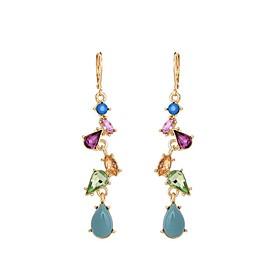Women's Stylish Long Drop Earrings Imitation Diamond Earrings Drop Ladies Stylish Classic Jewelry Gold For Daily 1 Pair