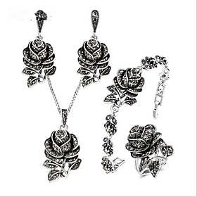 Women's AAA Cubic Zirconia Vintage Style Jewelry Set Titanium Steel, S925 Sterling Silver Flower Ladies, Vintage Include Vintage Necklace Gray For Wedding Dail