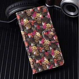 Case For Apple iPhone X / iPhone 8 Plus Wallet / Card Holder / with Stand Full Body Cases Skull / Flower Hard PU Leather for iPhone X / iPhone 8 Plus / iPhone