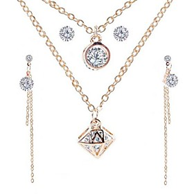 Women's AAA Cubic Zirconia Tassel Stylish Jewelry Set - Creative Stylish, Classic, Tassel Include Drop Earrings Earrings Layered Necklace Gold For Daily