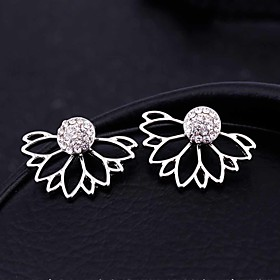 Women's Hollow Out Stud Earrings Front Back Earrings / Ear Jacket - Crystal Flower Gold / Silver For Christmas Gifts Wedding Party