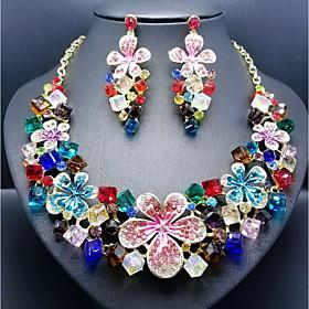 Women's Cubic Zirconia Hollow Out Trace Jewelry Set Resin, Rhinestone Flower Ladies, Stylish, Romantic, Elegant Include Drop Earrings Bib necklace Green / Blue