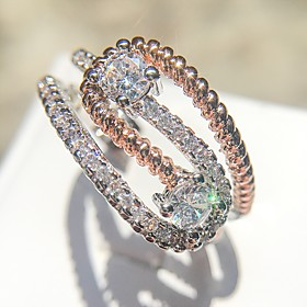 Women's Clear AAA Cubic Zirconia Classic Ring Copper Platinum Plated Imitation Diamond Love Ladies Unique Design Elegant Ring Jewelry Silver For Date Birthday