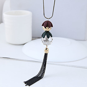 Women's Tassel Long Pendant Necklace / Long Necklace - Ball Dangling Style, European, Fashion Black 70 cm Necklace Jewelry 1pc For Causal, Daily