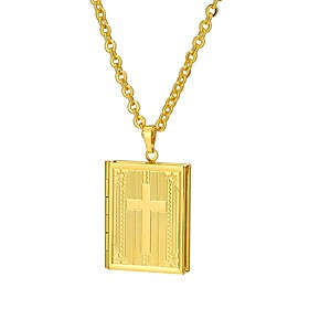 Men's Vintage Style 3D Pendant Necklace - 18K Gold Plated Locket Classic, Vintage Cool Gold, Silver 55 cm Necklace Jewelry 1pc For Daily, Street