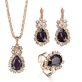 Women's Stylish Single Strand Jewelry Set - Rhinestone, Austria Crystal Pear British, Renaissance Include Drop Earrings Pendant Necklace Bridal Jewelry Sets Re