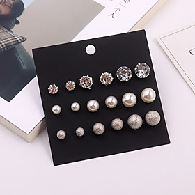 Women's Stylish Stud Earrings Earrings Set - Imitation Pearl, Rhinestone Ball Simple, European, Fashion Silver For Daily