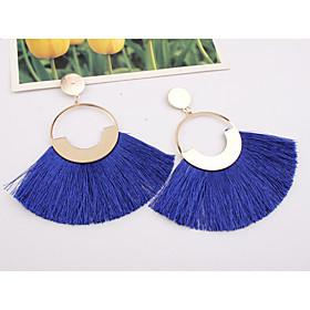 Women's Tassel Drop Earrings - European, Fashion, Oversized Wine / Light Blue / Dark Green For Party Street