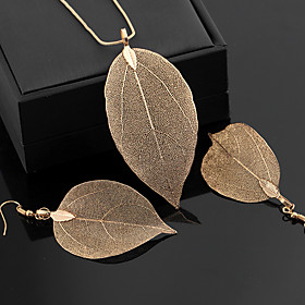 Women's Classic Jewelry Set - Leaf Statement, Vintage, Elegant Include Hoop Earrings Pendant Necklace Gold / Black / Silver For Ceremony Evening Party