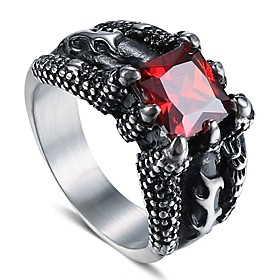 Men's Synthetic Ruby Vintage Style Solitaire Simulated Statement Ring Resin Titanium Steel Creative Stylish Vintage Punk Ring Jewelry Black For Street Club 9 /