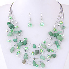 Women's Layered Stylish Jewelry Set - Bohemian, European, Elegant Include Earrings Layered Necklace Green / Blue / Pink For Party Daily