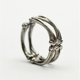 Men's Vintage Style Open Ring Silver Plated Creative Vintage Punk Ring Jewelry Silver For Christmas Halloween Adjustable