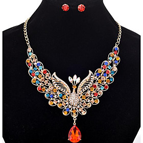 Women's Tassel Long Jewelry Set Rhinestone Peacock Ladies, Tassel, Bohemian Include Stud Earrings Statement Necklace Bridal Jewelry Sets Rainbow / Red / Champa