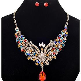 Women's Tassel Long Jewelry Set - Rhinestone Peacock Tassel, Bohemian Include Stud Earrings Statement Necklace Bridal Jewelry Sets Rainbow / Red / Champagne Fo