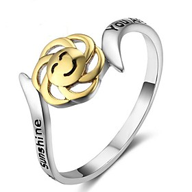 Women's 3D Band Ring Sterling Silver Laugh Ladies Unique Design Fashion Ring Jewelry Silver For Christmas Halloween 7 / 8