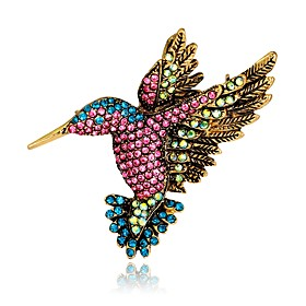 Women's Vintage Style 3D Brooches Rhinestone Gold Plated Bird Animal Ladies Unique Design Vintage Brooch Jewelry Rainbow For Evening Party Street
